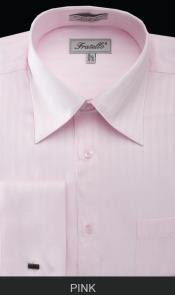 WHS29 French Cuff Dress Shirt - Herringbone Tweed Stripe