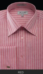 TND71 French Cuff Dress Shirt - Herringbone Tweed Stripe