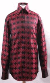 JSM-2785 Mens High Collar Black Red Pendant Design Shirts