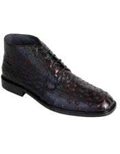 JSM-6440 Los Altos Mens Genuine Ostrich Dress Ankle Boots