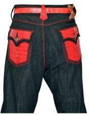 GD975 G-Gator Mens Genuine HornBack Alligator Black Jeans Red