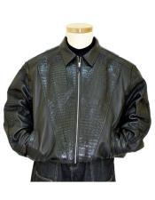 GD901 G-Gator Mens Genuine Hornback Alligator Tails Black Jacket