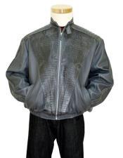 GD903 G-Gator Mens Grey Genuine Hornback Alligator Tails Jacket
