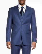 mens indigo 3 piece slim