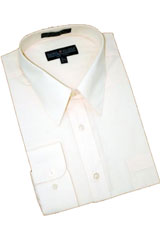 PF882 Solid Cream Ivory Cotton Blend Dress Shirt With