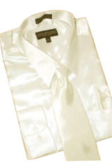 HS900 Satin Cream Ivory Dress Shirt Tie Hanky Set