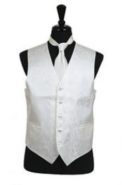 VS2788 Paisley tone on tone Vest Tie Set Ivory