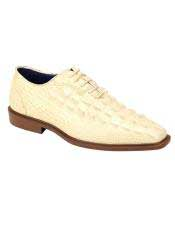JSM-4961 Mens Plain Toe Oxford Gator Pattern Ivory ~