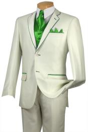 BRL5 Tuxedo lime mint Green Trim Microfiber Two Button