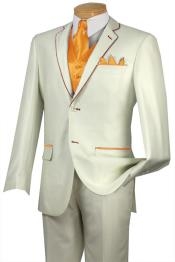 JHW2 Tuxedo Orange ~ Peach Trim Microfiber Two Button