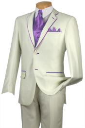 BBX4 Tuxedo Lavender Trim Microfiber Two Button Notch 5-Piece