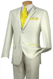 FFE2 Tuxedo Yellow Trim Microfiber Two Button Notch 5-Piece