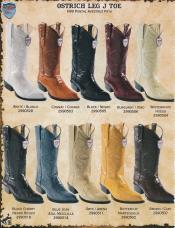 KW2X Wild West J-Toe Genuine Ostrich Leg Cowboy Western