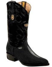 JSM-2285 Mens Genuine Stingray Handmade Black Boots With Replaceable