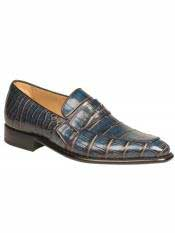 MO520 Mezlan Brand Jeans / Camel Genuine Alligator Loafer