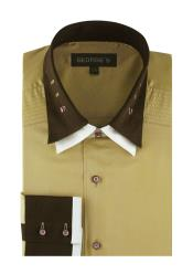 MensSolidKhaki100%CottonDoubleSpreadCollarFrench