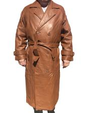 CH1575 Mens Real Leather Long Trench Coat ~ Overcoat