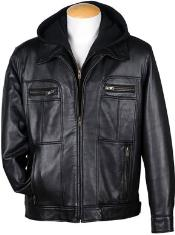 MK837 4-Zip Pocket Front Lamb Leather Hooded Jacket Liquid