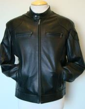 MK842 Lamb Leather Racing Liquid Jet Black Jacket Available