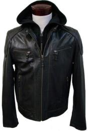 MK838 Removable Hood with Lamb Leather Moto Jacket brown