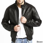 AC-209 Lambskin Leather Bomber Jacket Blackbrown color shade Available