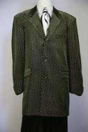 JA61 Laser Pattern Velvet Notch Lapel Green Zoot Suit