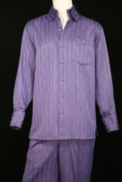 JA62 Mens Laser Stripes Long Sleeve Lavender Zoot Suit