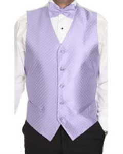 Lavender Patterned 4-Piece Vest Set