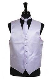 VS2016 Horizontal Rib Pattern Vest Tie Set Lavender