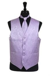 VS2786 Paisley tone on tone Vest Tie Set Lavender
