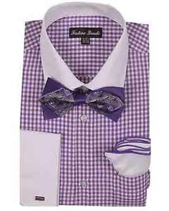 Product#SM1197ChecksDesignDressShirtWithBowTieAnd