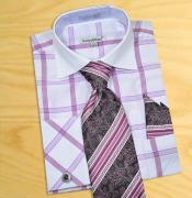 PN_Q53 Lilac Lavender / White Windowpanes Shirt / Tie