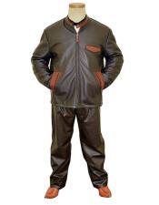 GD1002 G-Gator Mens Genuine Leather/Alligator Dark Brown Zipper Jacket