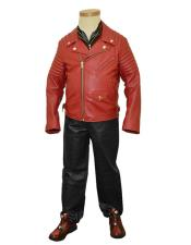 GD1025 G-Gator Mens Motorcycle Genuine Leather Wine Zipper Jacket