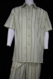 JA63 Mens Lemongrass Stripe Short Sleeve 2pc Walking Suit
