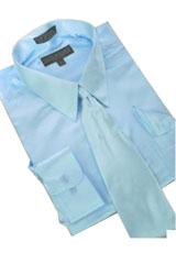 AK348 Satin Light Blue ~ Sky Blue Dress Shirt