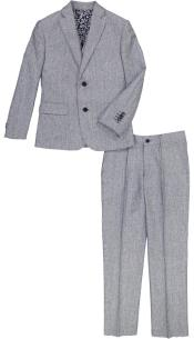 JA199 Mens Flap Lapel Light Blue And Gray Linen