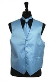 VS2018 Horizontal Rib Pattern Vest Tie Set Light Blue