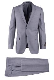 SM4737 Mens Light Gray Pure Wool 2 Button Novello