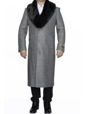 SM4809 Mens Removable Fur Collar Full Length Wool Dress