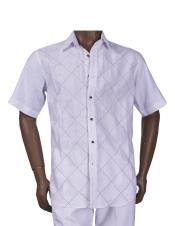 JSM-5521 Mens Linen Diamond Pattern Button Closure White Outfit