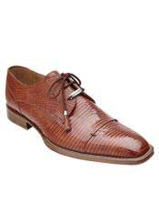 JSM-1332 Belvedere Full Lizard Skin Exotic Honey Brown Shoes