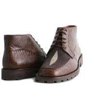 mens Brown Genuine Lizard & Stingray