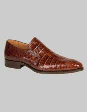 JSM-6016 Mens Mezlan Loafers Brandy Crocodile Skin Shoes