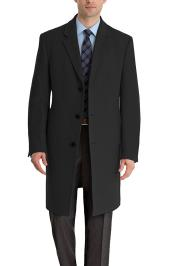 SM4765 Mens Long Cashmere Blend Overcoat in Black