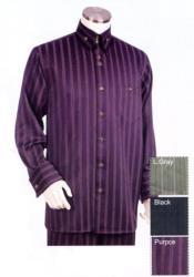 JA95 Mens Point Collar Pinstripe Long Sleeve Purple Zoot