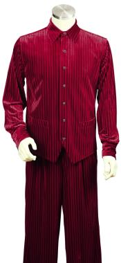 JA112 Mens Ribbed Velvet Long Sleeve Dual Pocket Accents