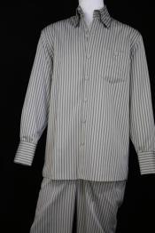 JA154 Mens Victorian Stripe Long Sleeve Walking Suit Sage