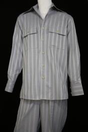 JA57 Mens Harlem Designer Long Sleeve Silver Nightingale Stripe
