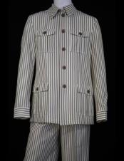 CH2461 Mens Safari Style Victorian Stripes Vintage Quad Pocket